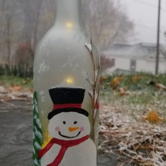 glowing frosty wine bottle