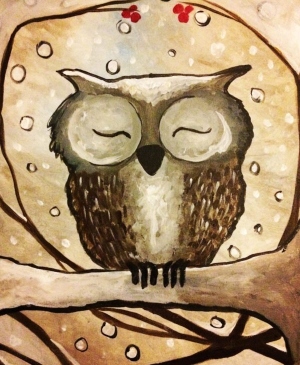 Sleepy Winter Owl Painting